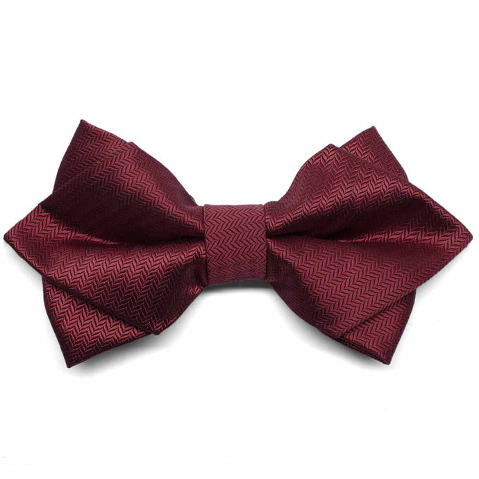 Claret Herringbone Diamond Tip Bow Tie