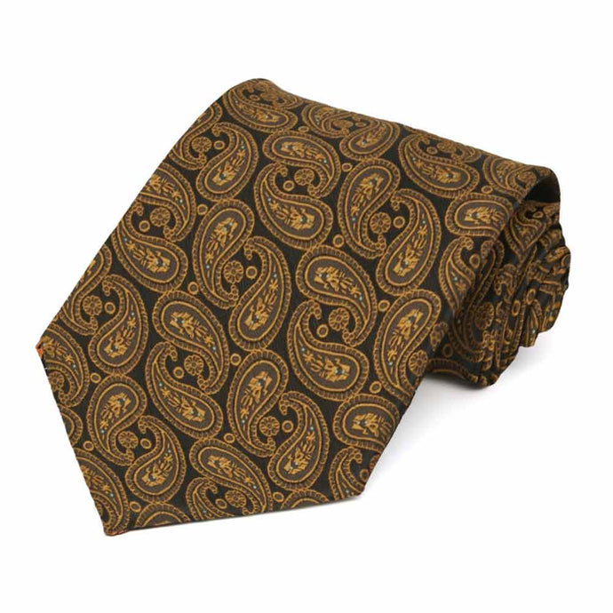 Cocoa Brown Darlene Paisley Extra Long Necktie