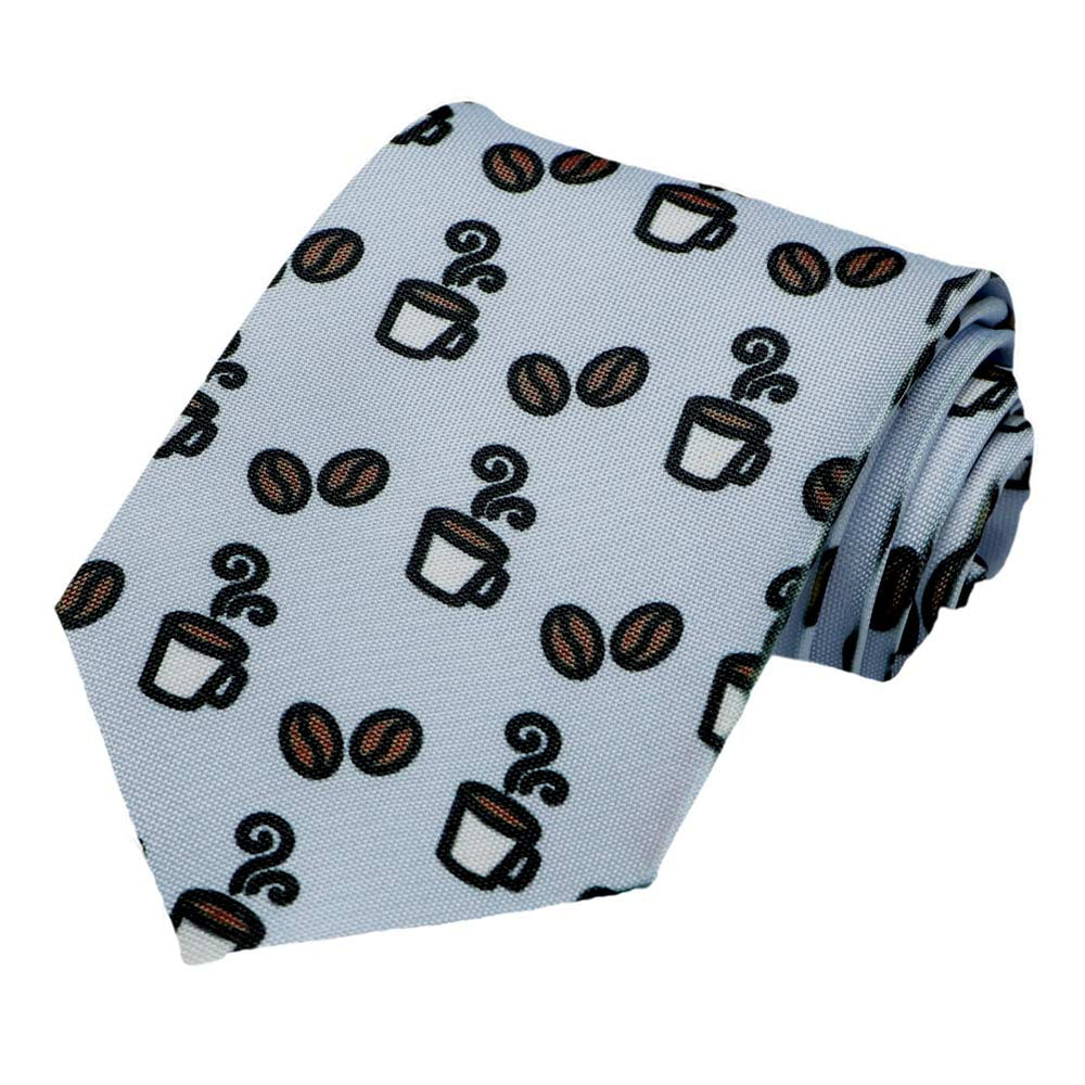 A coffee cup and coffee bean design on a light blue tie.