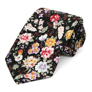 Colorful rolled black floral pattern narrow tie