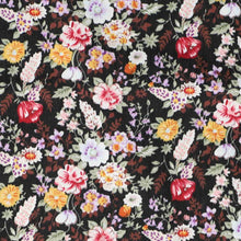 Load image into Gallery viewer, Colorful black floral pattern fabric