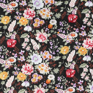 Colorful black floral pattern fabric