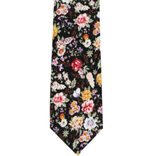 Load image into Gallery viewer, Colorful unrolled black floral pattern narrow tie