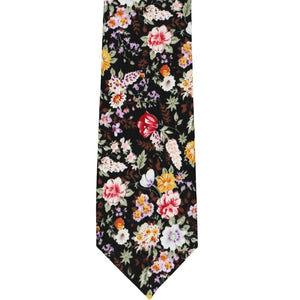 Colorful unrolled black floral pattern narrow tie