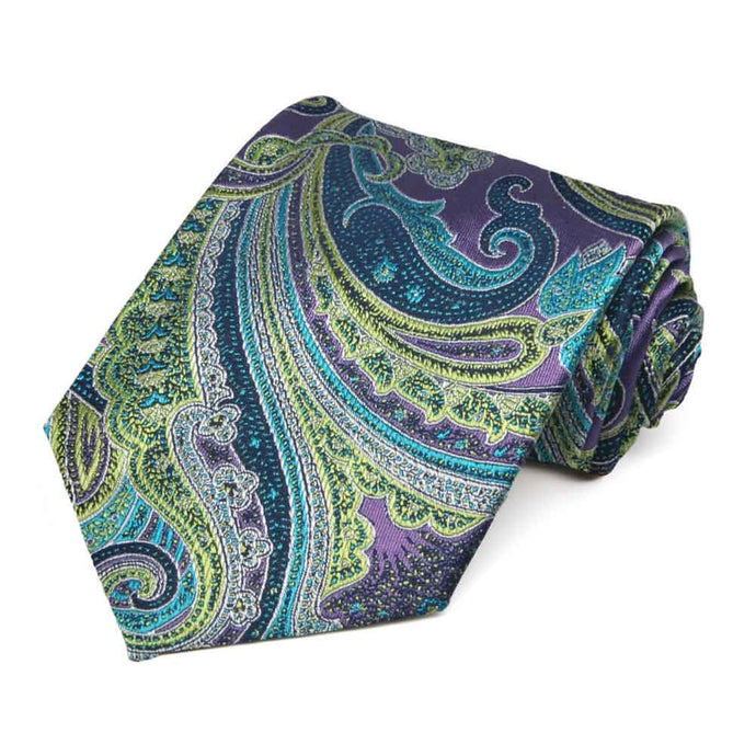 Purple Sergeant Paisley Silk Extra Long Necktie