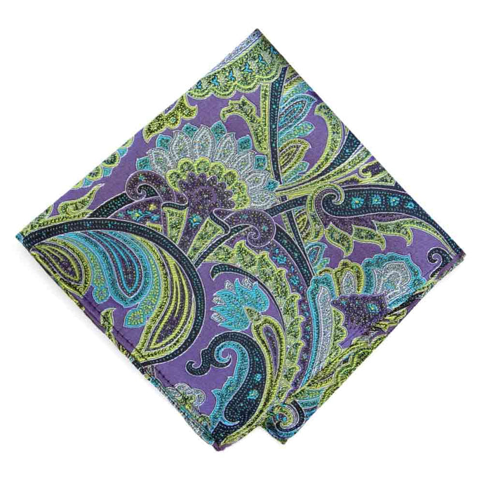 Purple Sergeant Paisley Silk Pocket Square