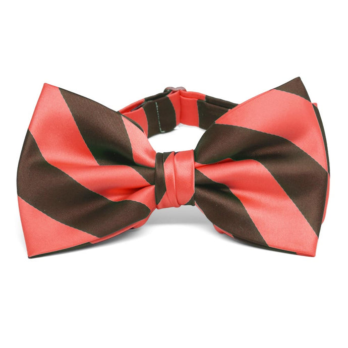 Bright Coral and Brown Striped Bow Tie