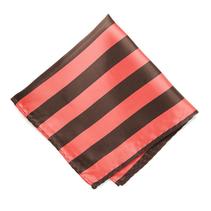 Bright Coral and Brown Striped Pocket Square