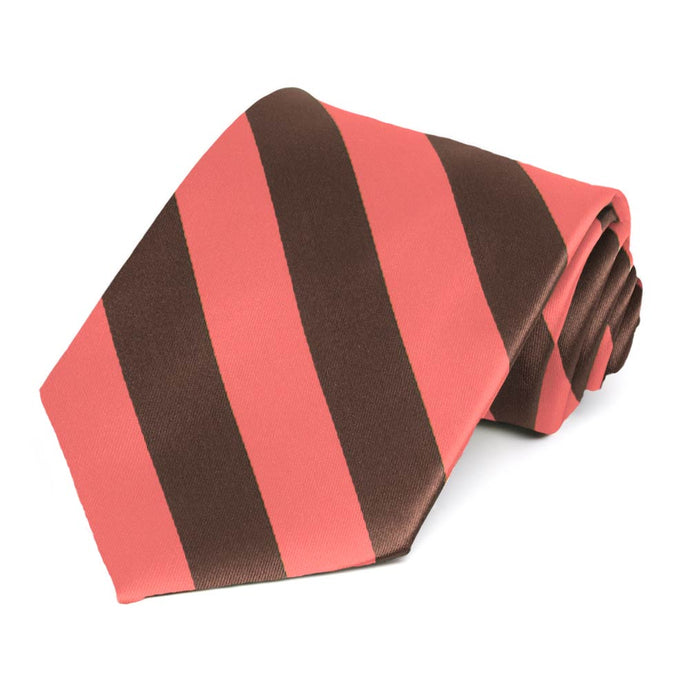 Bright Coral and Brown Striped Tie