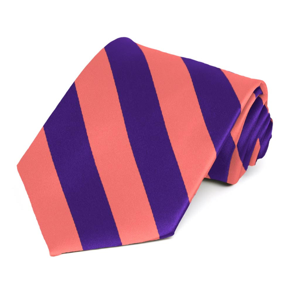 Bright Coral and Dark Purple Striped Tie