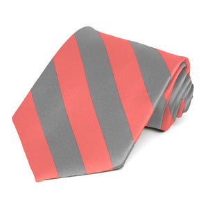 Bright Coral and Gray Striped Tie