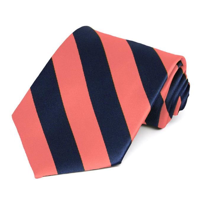 Bright Coral and Navy Blue Extra Long Striped Tie