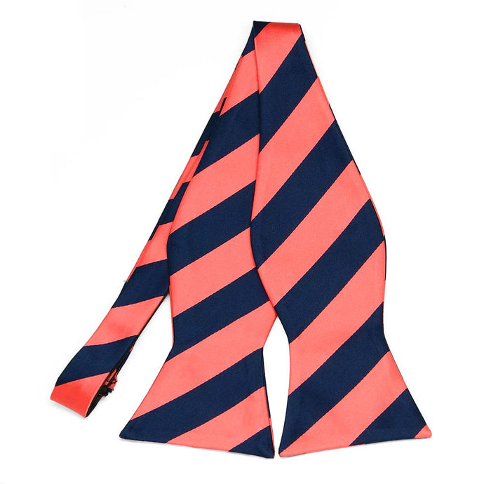 Bright Coral and Navy Blue Striped Self-Tie Bow Tie