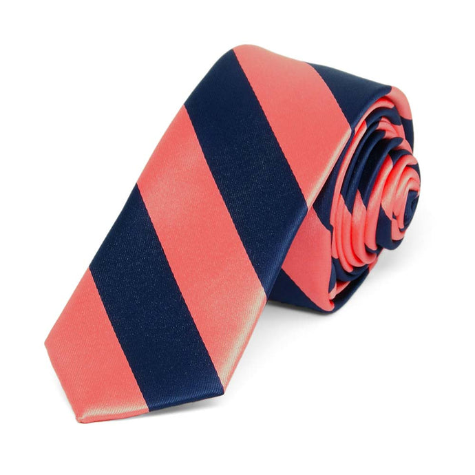 Bright Coral and Navy Blue Striped Skinny Tie, 2