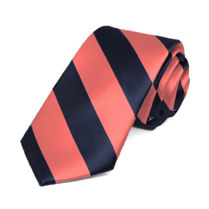 Bright Coral and Navy Blue Striped Slim Tie, 2.5