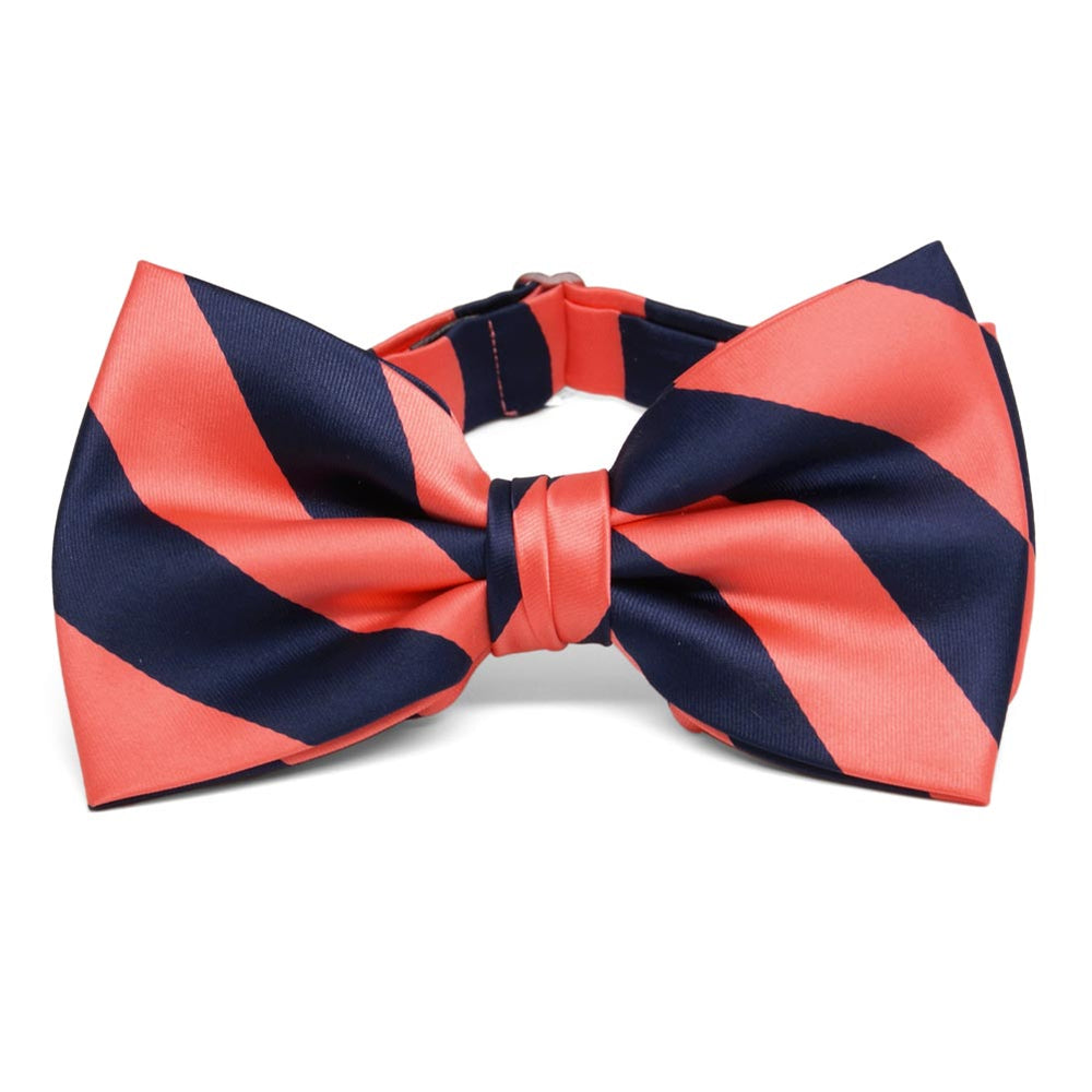 Bright Coral and Navy Blue Striped Bow Tie