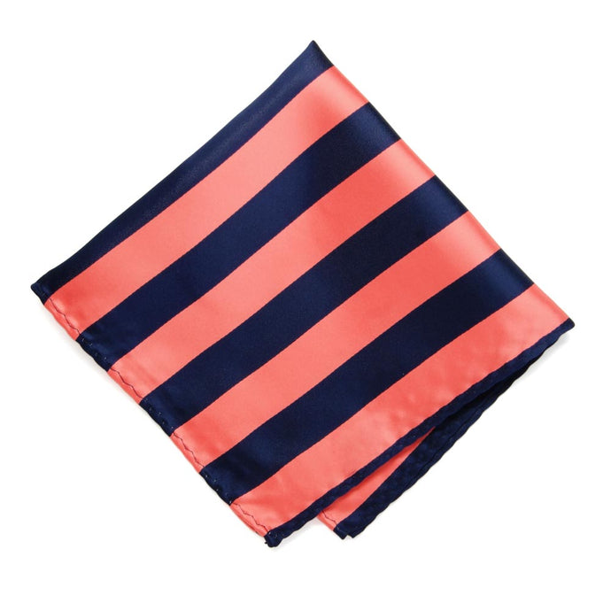 Bright Coral and Navy Blue Striped Pocket Square
