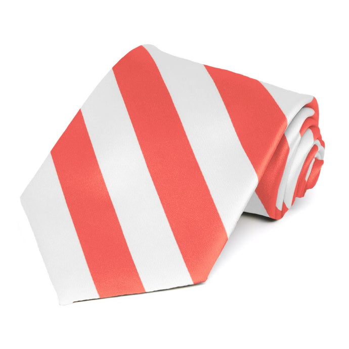 Bright Coral and White Striped Tie