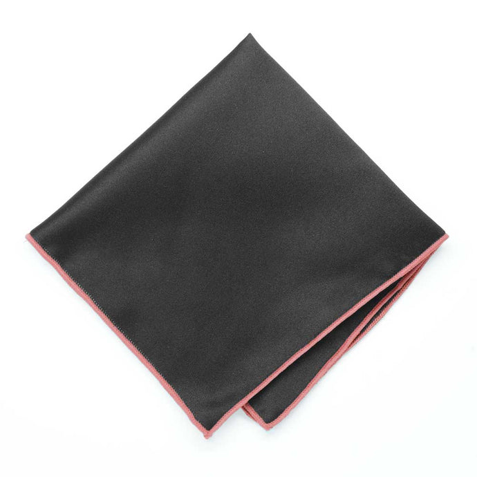 Coral Tipped Black Pocket Square
