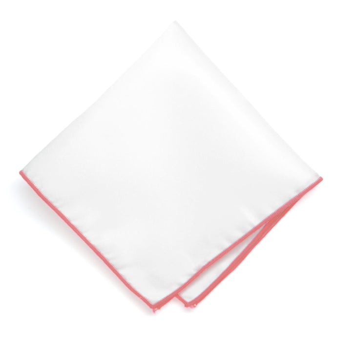 Coral Tipped White Pocket Square