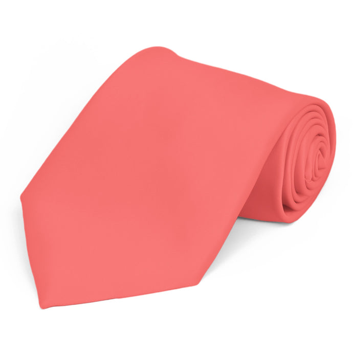 Bright Coral Premium Extra Long Solid Color Necktie