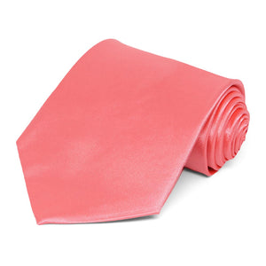 Coral Solid Color Necktie