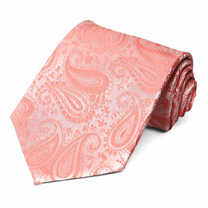 Coral paisley pattern rolled extra long tie