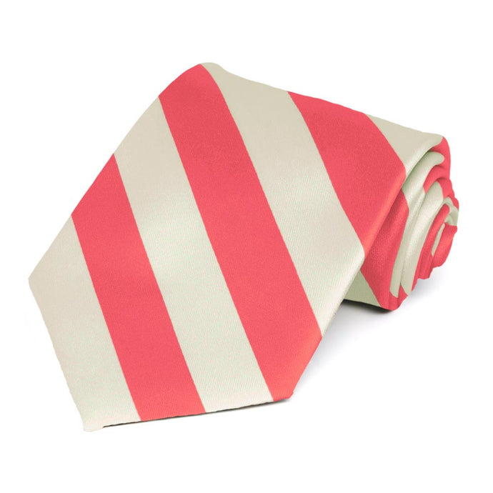 Coral Pink and Ivory Striped Tie