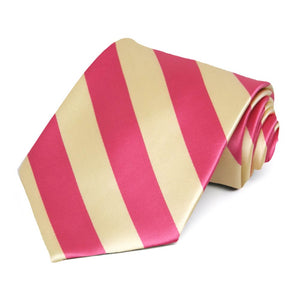 Coral Pink and Light Yellow Striped Tie
