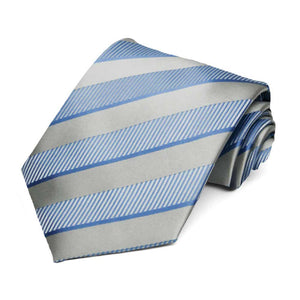 Cornflower and Silver Lancer Striped Necktie