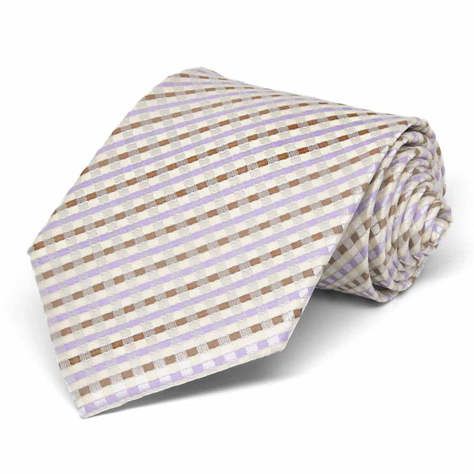 Cream George Plaid Necktie
