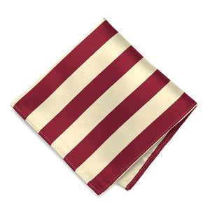 Crimson Red and Cream Striped Pocket Square