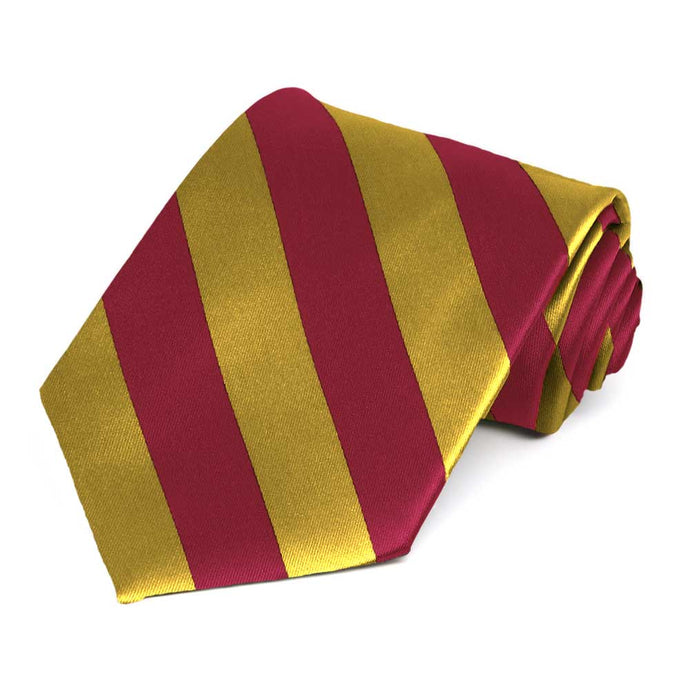 Crimson Red and Gold Striped Tie