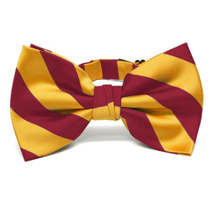 Crimson Red and Golden Yellow Striped Bow Tie