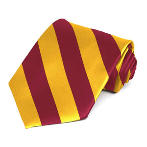 Crimson Red and Golden Yellow Striped Tie