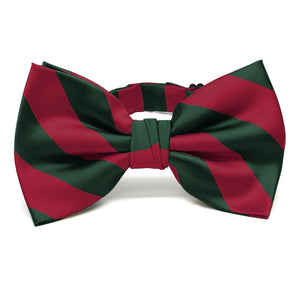 Crimson Red and Hunter Green Striped Bow Tie