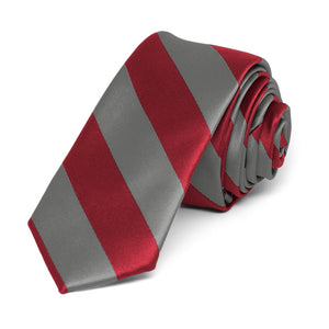"Crimson Red and Medium Gray Striped Skinny Tie, 2"" Width"