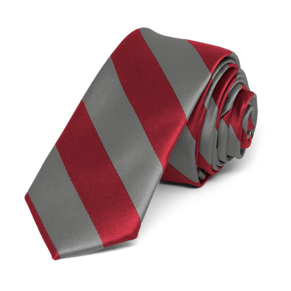 Crimson Red and Medium Gray Striped Skinny Tie, 2