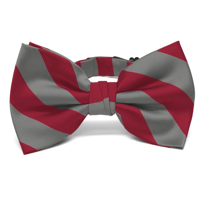 Crimson Red and Medium Gray Striped Bow Tie