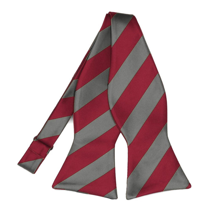 Crimson Red and Medium Gray Striped Self-Tie Bow Tie