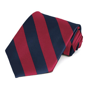 Crimson Red and Navy Blue Extra Long Striped Tie