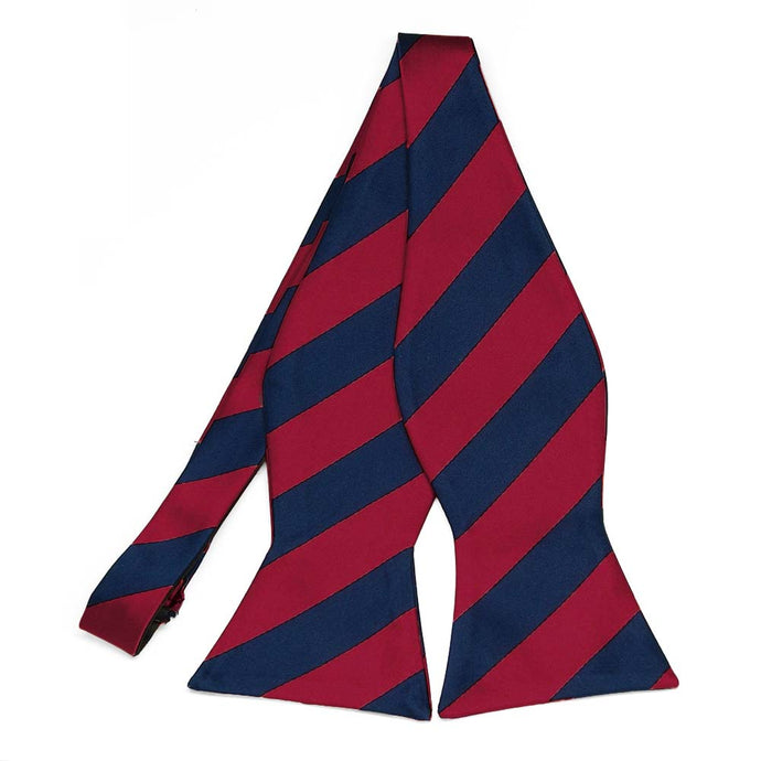 Crimson Red and Navy Blue Striped Self-Tie Bow Tie