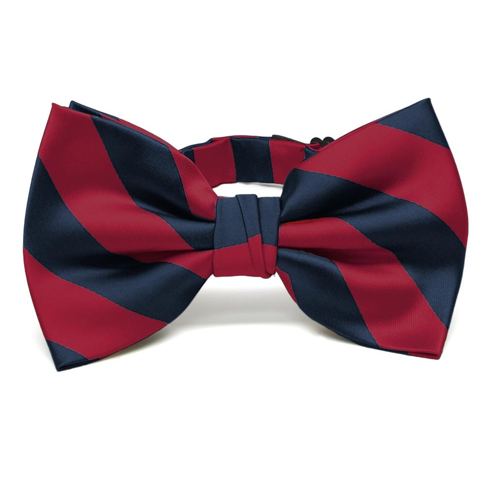 Crimson Red and Navy Blue Striped Bow Tie