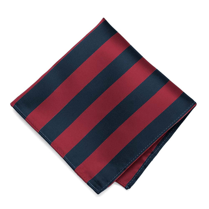 Crimson Red and Navy Blue Striped Pocket Square