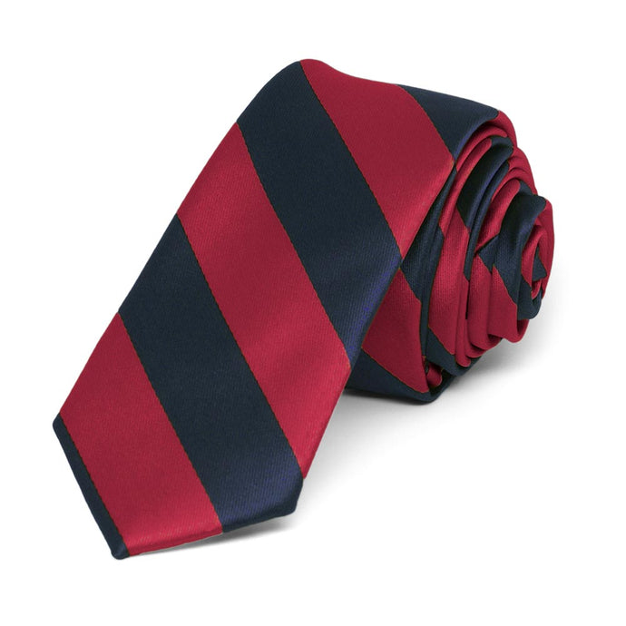 Crimson Red and Navy Blue Striped Skinny Tie, 2