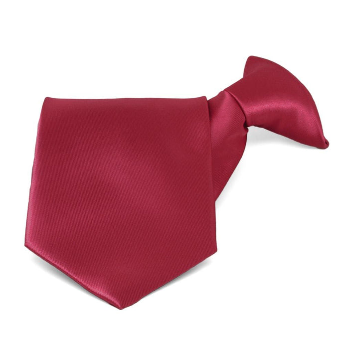 Crimson Red Solid Color Clip-On Tie