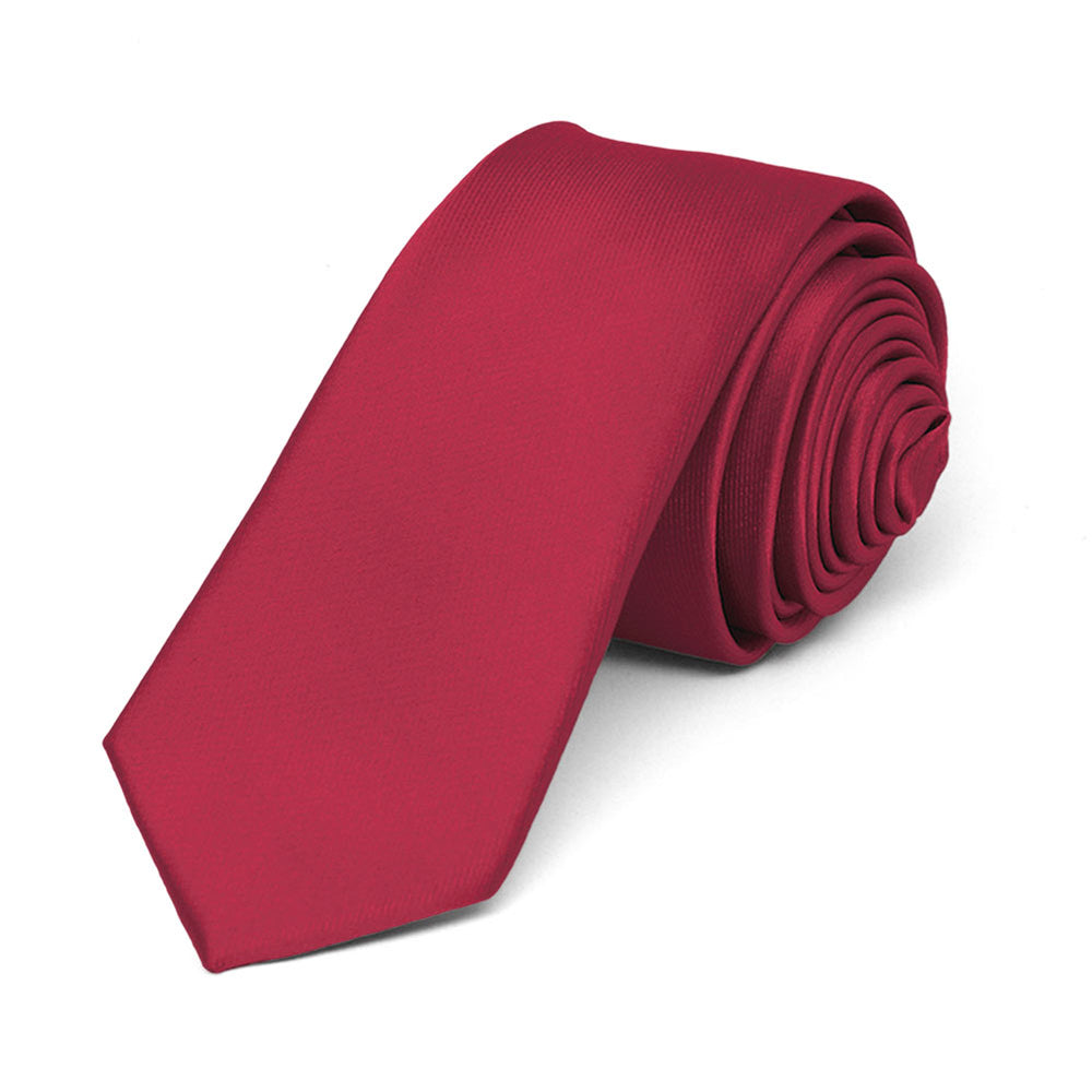 Crimson Red Skinny Solid Color Necktie, 2