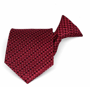 Crimson Red Marie Square Pattern Clip-On Tie