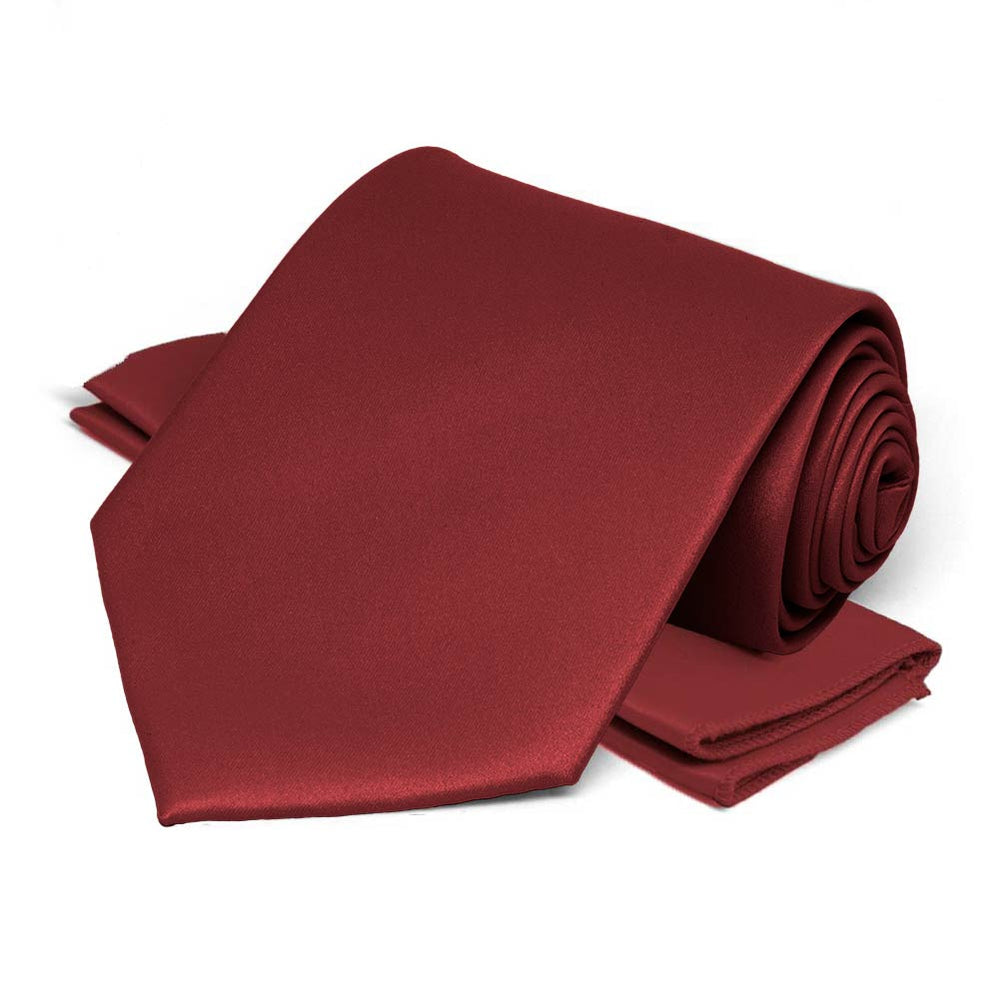 Currant Red Satin Necktie and Pocket Square Set