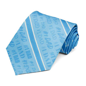 #1 dad tie in a striped blue tie.